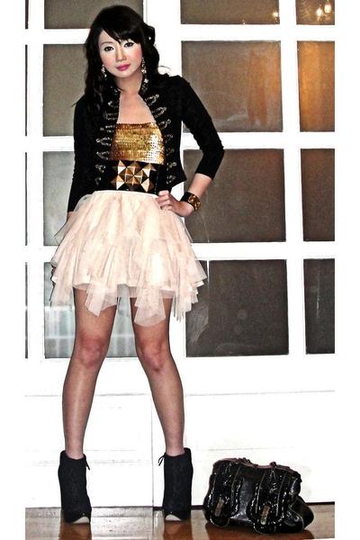 black H&M blazer - black Topshop shoes - black Fendi bag - black Glitterati belt