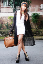 black DAS boots - white Topshop dress - black Eudora Wear coat