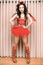 red Amiclub Wear boots - red Glitterati top - red Glitterati skirt
