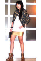 blue Soule Phenomenon blazer - white Topshop shirt - gold glasnost skirt - brown