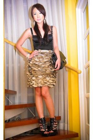 beige Vania Romoff skirt - black Glitterati intimate - black online shoes - blac