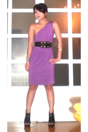 purple mimi dress - black Miss Sixty shoes - black Cintura belt