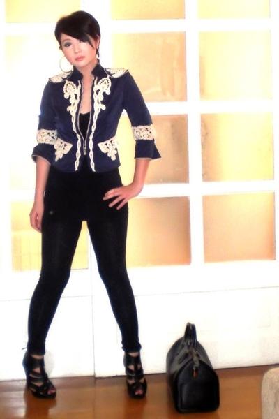 black Louis Vuitton bag - black Topshop shoes - black Topshop leggings
