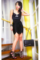 black studded bustier Stylebreak bra - black Zara shoes - black 255 Chanel bag