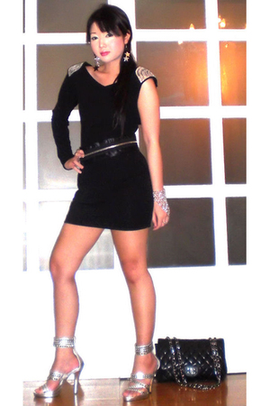 black Glitterati dress - black Glitterati belt - silver online shoes - black Cha