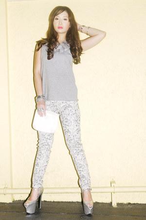 white Zara pants - heather gray Topshop top - silver DAS heels
