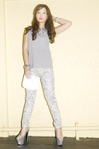 white Zara pants - heather gray Topshop top - silver DAS heels