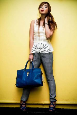 blue cabas chyc Yves Saint Laurent bag - ivory peplum eyelet H&M blouse