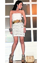 white Glitterati dress - gold Vintage from Mum belt - gold CMG shoes - beige Guc