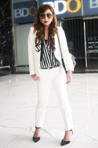black Zara shoes - white Zara blazer - white Mango pants - black Zara blouse