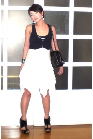black Forever 21 vest - black Topshop shoes - white Dorothy Perkins dress