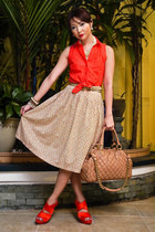 neutral floral vintage skirt - salmon Topshop shirt - nude stam Marc Jacobs bag