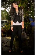 black skinny Mango jeans - silver Glitterati blazer - black Louis Vuitton bag -