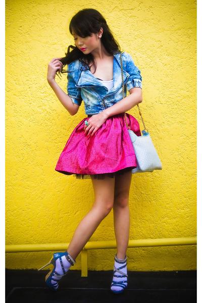 pink Poisonberry skirt - blue studded crystal online shoes - blue Zara jacket