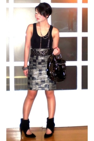 Topshop top - my design skirt - Zara belt - purse - Zara shoes - necklace