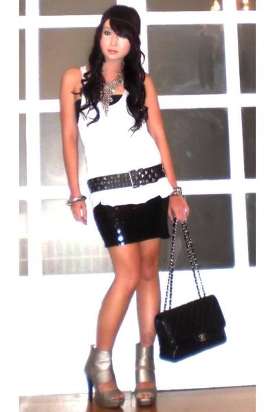 black Mango skirt - silver AmiClubWear shoes - black studded belt Zara belt