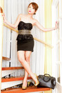 Black-peplum-lace-lbd-forever-21-dress-black-louis-vuitton-bag-gold-glitter-