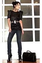 black Details boots - black shoeboots online shoes - blue skinnies Mango jeans