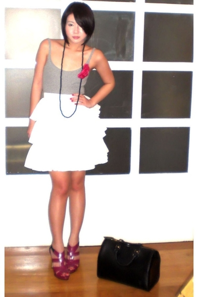 white Glitterati skirt - pink the Librarians shoes - black Louis Vuitton bag