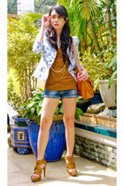 Zara blazer - strappy Zara shoes - denim HK shorts - Topshop - Zara top