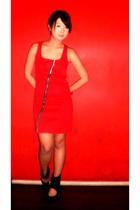 black Zara shoes - red Moonshine dress - black Louis Vuitton bag