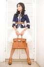 Blue-jessica-blazer-white-dress-brown-chanel-belt-brown-hermes-purse-bro