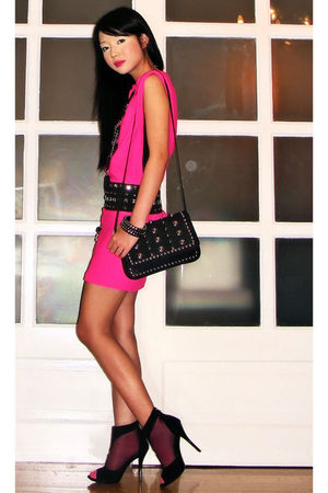 pink Glitterati dress - black Glitterati belt - black Cuteture necklace - black