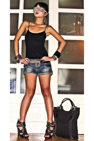 black online shoes - black studded tote Random form HK bag