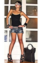 silver DIY glasses - black online shoes - black studded tote Random form HK bag