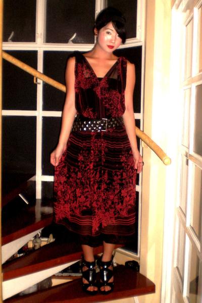 black Zara belt - black Anthem shoes - black Mango dress