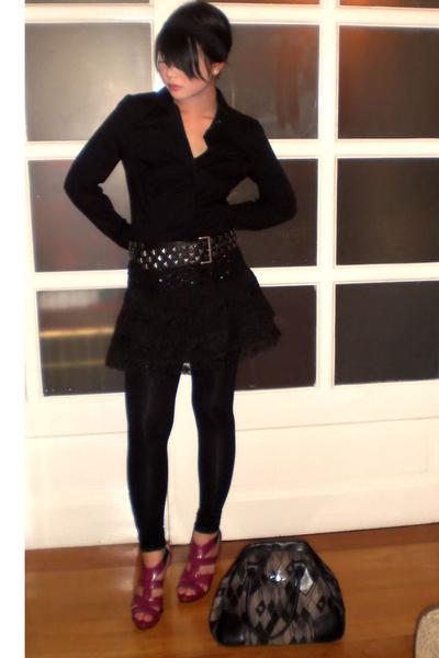 Zara Basics shirt - Zara belt - Mango skirt - Zara tights - the Librarians shoes