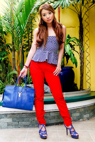blue YSL bag - red Zara pants - navy peplum Glitterati top