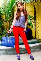 blue YSL bag - red Zara pants - navy peplum Glitterati top