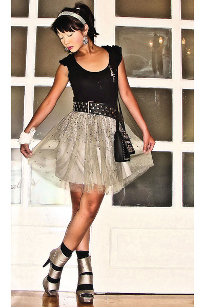 silver sequined tutu Gingersnaps skirt - silver strappy cutout online shoes