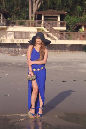 blue Before Twelve dress - black Zara hat - black Emilio Pucci bag