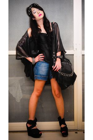 black Glitterati accessories - black top - blue Zara shorts - black Topshop shoe
