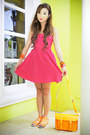 Hot-pink-forever-21-dress-orange-cambridge-bag-orange-tonic-sandals