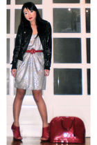 silver Zara dress - black random from Hong Kong jacket - red vintage belt - red