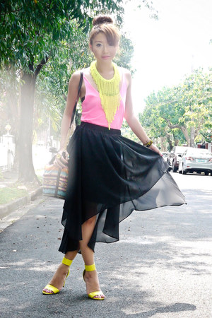 black Sheinside skirt - black tonic bag - chartreuse H&amp;M necklace