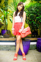 light orange Parisian bag - peach Topshop shorts - light orange H&M heels - crea