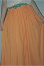 Orange-maxi-skirt-zara-skirt-turquoise-blue-leather-lefties-belt