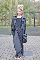 black sheer asos top - black leather warehouse jacket - black Guess bag