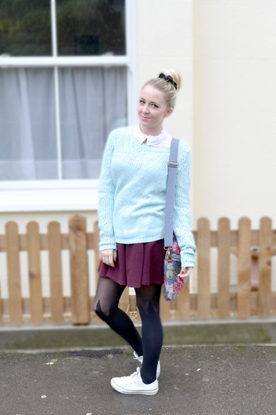 blue warehouse jumper - maroon River Island skirt