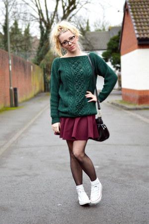 maroon skater skirt River Island skirt - green chunky knit asos jumper