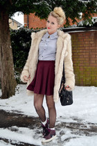 magenta skater skirt River Island skirt - beige faux fur asos coat