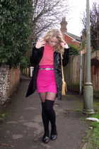 black French Connection coat - salmon Topshop vest - hot pink Zara skirt