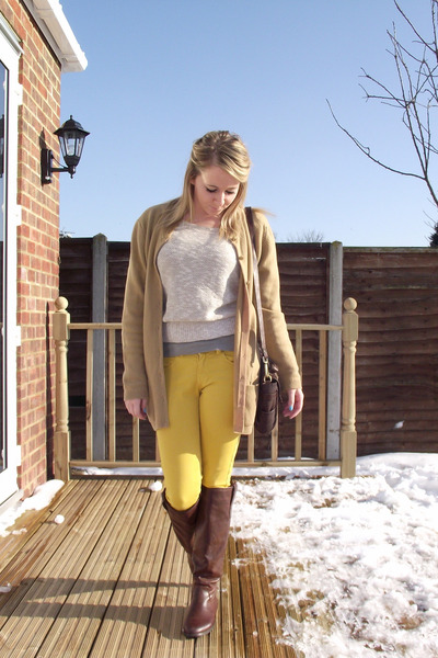 mustard denim JCrew jeans - brown fabric scrap boots