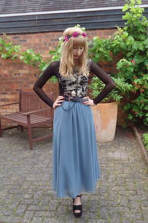 vintage skirt - headband new look accessories - vintage top - Office heels