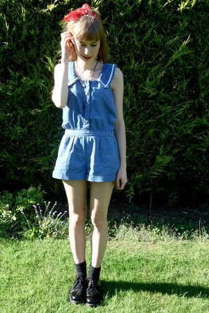 denim moto  Topshop romper - patent Dr Martens flats