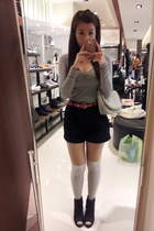 black boots - silver hearts bag - black shorts - silver knee high socks socks
